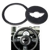 Guarnição da tampa da etiqueta do volante da fibra de carbono real para Mini Cooper R55 R56 R60