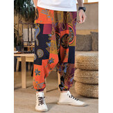 Herren Bohemian Harem Pants Indian Ethnic bedruckte Hose Baggy Gypsy Yoga Bottom