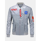 Mens Letter Print Flap Pocket Stand Collar Casual Bomber Jacket
