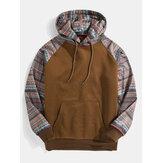 Męskie bluzy z kapturem ze sznurkiem w stylu vintage z nadrukiem patchworkowym