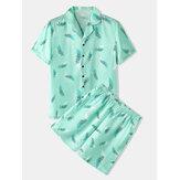 メンズリーフプリントパジャマリベア襟半袖ホームパジャマセット