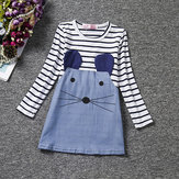 Leuke Kid Girls Striped Cartoon Little Mouse Patchwork Dress