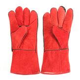 XL Red Welding Перчатки Высокотемпературная кожа защищает сварочные ручки Длинную перчатку