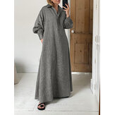 Women Lapel Concealed Button Placket Casual Long Sleeve Maxi Dresses With Pocket