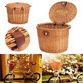 Willow Bike Front Basket Bike Storage Front Carrying Basket Shopping Stuff Pets Fruits Storage Case for Cycling