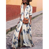 Bohemian Women Party Evening V Neck Short Sleeve Floral Printed Long Maxi Dress