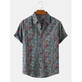 Mens Ethnic Paisley Print Short Vintage Sleeve Lapel Collar Cotton Shirts