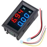 3 pcs n Mini Digital Voltímetro Amperímetro DC 100 V 10A Voltímetro Medidor de Corrente Tester Azul + Vermelho Dual LED Display