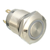 DC 12V 12mm Interruttore Momentario a 4 Pin Interruttore a Pulsante con Luce LED in me<x>tallo Impermeabile