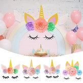 Kit de flores de papel de unicornio DIY con Brilho orejas de cuerno Pestañas Decoración de habitación Suministros para fiestas Decoraciones Telón de fondo para niños
