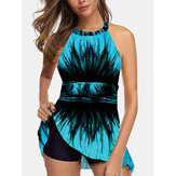Plus Size Swimwear Print Hanging Neck Backless Cover Belly Swimdress