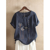 Çiçek Baskı O-Boyun Kısa Kollu Düğme Vintage T-shirt Kadın için