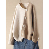 Women Contrast Patchwork Asymmetric Button Knit Drop Shoulder Casual Cardigans