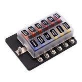 12 Way Fuse Box Circuit Standard Blade Holder With 24 Fuses Universal For 12V-32V Car Caravan Bus Boat