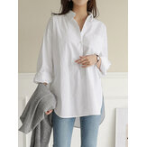 Women Daily Casual Cotton Irregular Hem Commute Loose Shirts