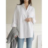 Dames dagelijkse casual katoenen onregelmatige zoom Commute losse shirts