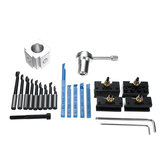 19Pcs Mini Quick Changes Tool Post Holder Set + 3/8 Inch Boring Bar + Indexable 3/8 Inch Lathe Tools Kit
