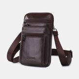 Hommes en cuir véritable 7 pouces téléphone sac taille sac ceinture ceinture sac à bandoulière sac à bandoulière