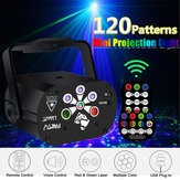 Projetor Sound Activated 120 Patterns LED RGB + UV Laser Luz de palco DJ Disco KTV Party com Controle Remoto