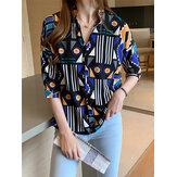 Camisas Daesign con cuello de solapa y estampado geométrico de mujer