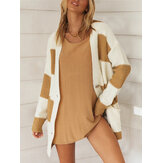 Women Striped Single-Breasted Casual Knitted Cardigan Sweater Whit Pocket