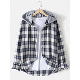 Vintage Plaid Print Button Up Long Sleeve Drawstring Hooded Shirts For Men