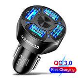 HCJTWIN 3A QC3.0 4 Caricabatteria da auto USB LED Indicatore Adattatore per caricabatteria da auto a ricarica rapida per iPhone 12 XS 11Pro MI10 POCO X3