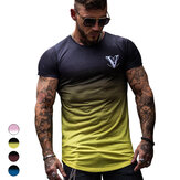 Gradient Men's T-Shirts Slim Summer Elasticity Breathable Quick Dry Short Sleeve Outdoor Sports Hiking