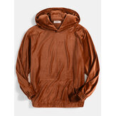 Mens Velvet Solid Color Kangaroo Pocket Simple Hoodies