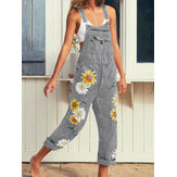 Sunflower Print Sleeveless Straps Casual Jumpsuit Pocket Denim Overalls For Women