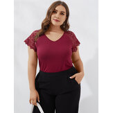 Plus Size Lace Sleeve Patchwork Round Neck Summer Casual T-shirts