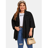 Plus Size Winter Lapel Bat Sleeve Black Commute Casual Coats