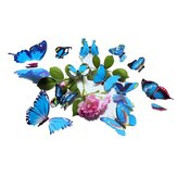 12pcs 3D color azul de la pared de la mariposa pegatina Chrismas Home Decor Art Applique