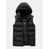 Mens Zipper Side Pocket Windproof Removable Hooded Warm Sleeveless Down Jacket Vest