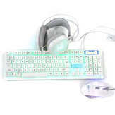 3-In-1 USB Wired Keyboard 1600DPI Mouse Colorful Headset Set Gaming Backlight Mechanical Keyboard Waterproof for Desktop Computer Notebook