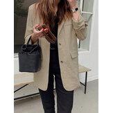Feminino 100% algodão com gola dobrável e botão traseiro garfo OL manga comprida blazer regular