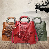 Women Vintage Ethnic Style Embossed Handbag