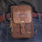 الرجال جلد طبيعي متعدد الوظائف خمر 6.3 بوصة هاتف حزم الخصر جلد البقر مقاومة للاهتراء