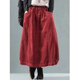 Kobiety Vintage sztruksowy elastyczny pas biodrowy spódnice zimowe
