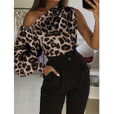 Leopard Print Off Shoulder Lantern Sleeve Blouse Casual