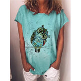 Cartoon Owl Print Summer Short Sleeve Mujer Camisetas casuales