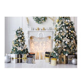 Christmas Tree Photography Backdrops Fireplace Gift Box Background Cloth for Studio Photo Backdrop Prop