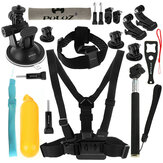 PULUZ Harness Chest Belt Head Mount Strap Monopod untuk Set Aksesoris Kamera Yi Gopro