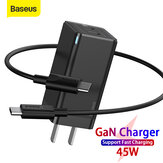 [GaN Tech] Baseus 45W USB-C Wall Charger 2-Port PD3.0 QC3.0 AFC SCP Quick Charge Adapter With Foldable US Plug + 60W USB-C to USB-C Fast Charging Cable