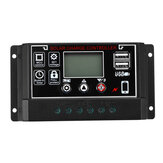 10A/20A/30A/40A/50A/60A 12V/24V Dual USB LCD Solar Panel Battery Regulator Charge Controller Black