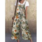 Femmes Vintage sans manches bouton Floral côté poche salopette impression lâche combinaisons