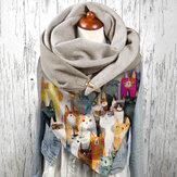 Women Colorful Multi Cartoon Cute Cats Pattern Soft Personality Neck Protection Keep Warm Scarf