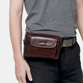 Men Genuine Leather Multi- function Vintage Cross Body Bag Outdoor Waist Belt Bag