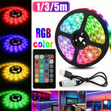 1M 3M 5M USB RGB 5050 LED Strip Light Non-waterproof/Waterproof TV Background PC Lamp with 24Keys Remote Control
