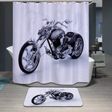 180x180cm Waterproof Cool Motorcycle Polyester Shower Curtain Bathroom Decor with 12 Hooks